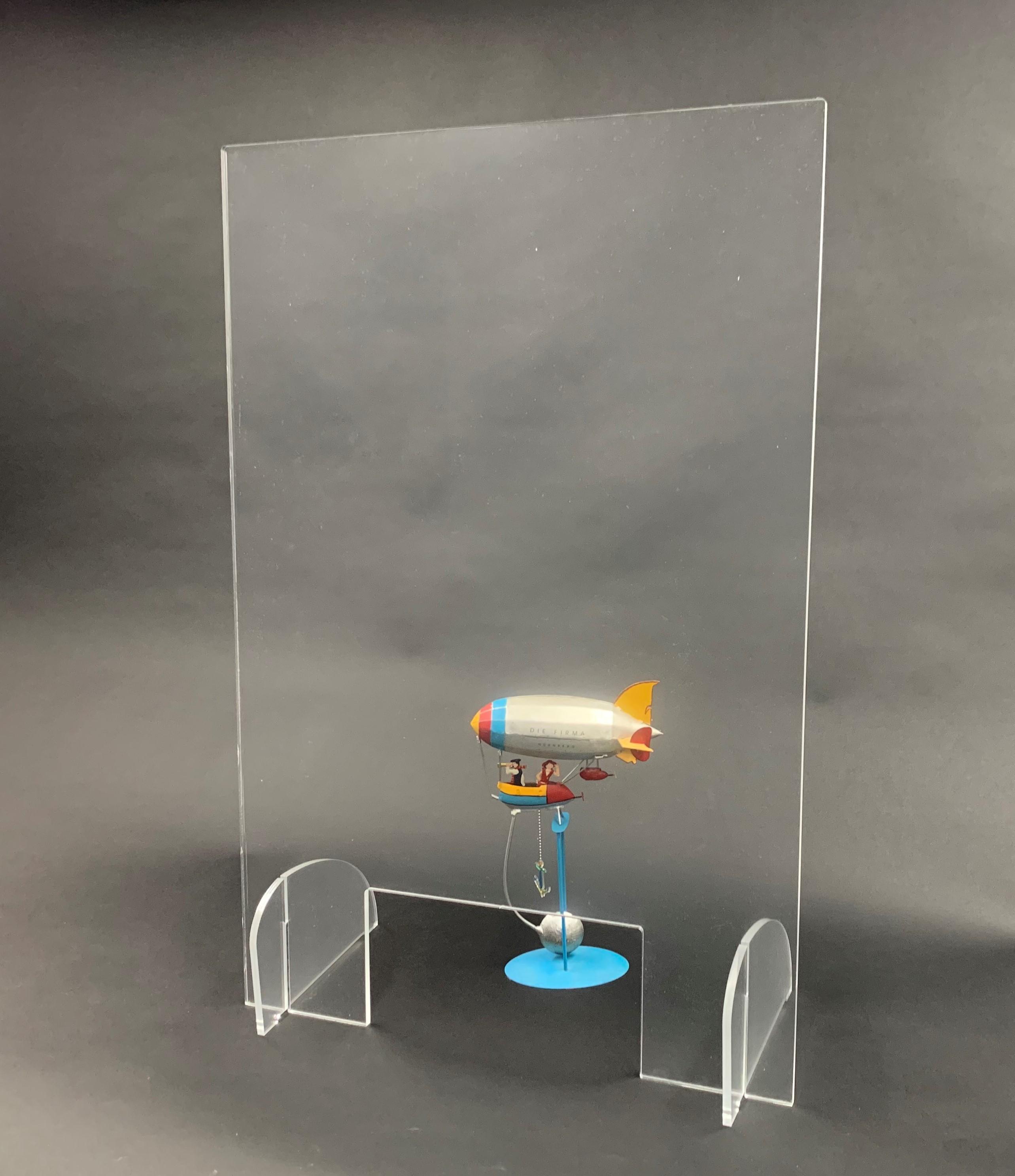 Spuckschutz 600x800mm (bxh) Aufsteller steckbar (Werkzeuglose Montage), inkl. Durchreiche 300x150mm (bxh)